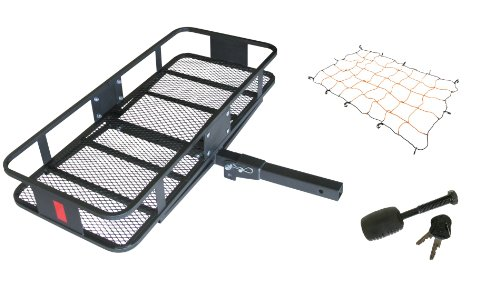 HitchMate 4013 Black Deluxe Fold-Up Cargo Carrier Kit with Cargo Webbing and Hitch (Hitchmate Cargo)
