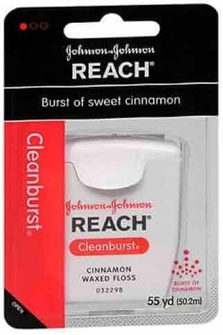 J&J Dent Fls Cin Wax Size 55yd Reach Clean Burst Cinnamon Waxed Floss