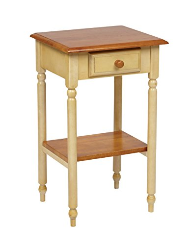 Office Star Country Cottage Collection Phone Stand in Buttermilk and Cherry Finish (Table With Telephone Tall Drawer)