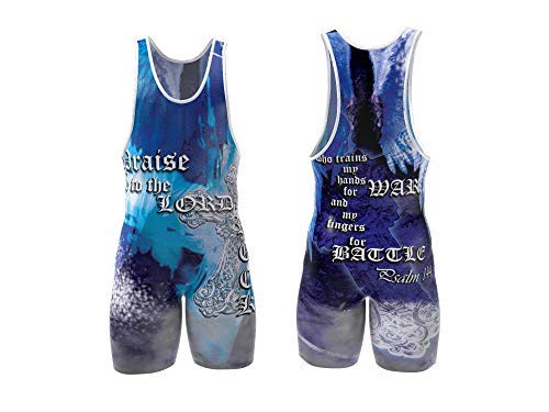 4 Time All American Psalm 144:1 Blue Wrestling Singlet Size S