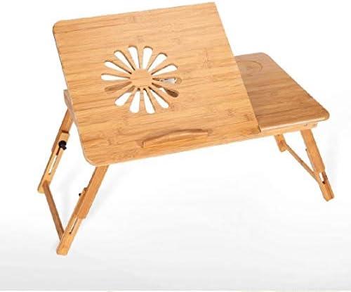 調節可能なラップトップベッドテーブル、木製の熱放散多機能自動回転ラップトップベッド・コンピュータデスクファンポータブル折りたたみテーブルスタンド GAONAN