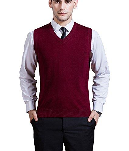Zicac Men's V-Neck Solid Knitwear Sweater Vest Sleeveless Knitting Shirt (M, Wine Red)