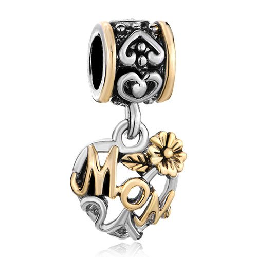 (Pugster Flower Love Mom Family Charm Fits Pandora Charm For Mother)