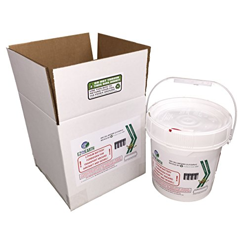 EZ on the Earth Battery Recycling Container Kit, 1 gallon battery recycling pail, pre-paid mail back recycle kit for lithium batteries and other dry cell - Cell Dry Recycling Battery