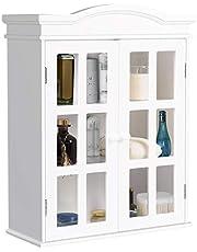 Tangkula Wall Mount Bathroom Cabinet Elegant Two Door Collection Storage Medicine Cabinet White