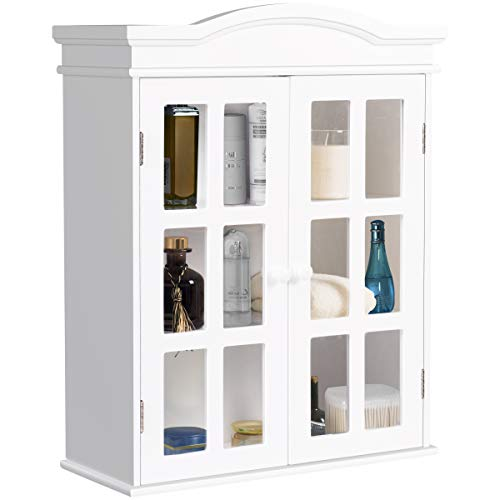 Tangkula Bathroom Cabinet, Double Door Wall Mount Cabinet, Collection Storage Cupboard, with Adjustable Shelf, Two Elegant and Delicate Acrylic Doors, Ideal for Bathroom, Kitchen and Living Room