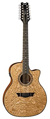 Dean E UQA12 GN Exotica Ultra Quilt Ash 12-String Acoustic-Electric Guitar, Gloss Natural by Dean