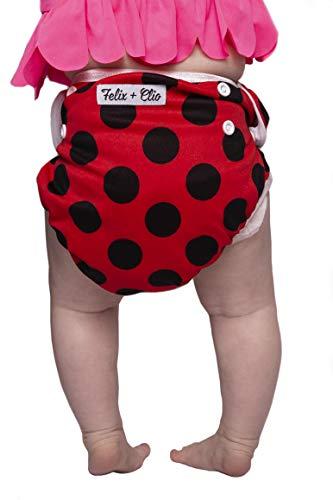 Washable Adjustable Swim Diapers, Baby Reusable Swim Diaper (Ladybug)