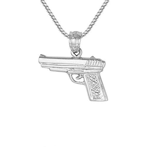 Sterling Silver Revolver Pistol Gun Charm / Pendant, Made in USA, 18