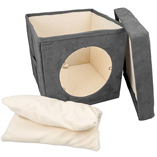 Original ZEN DEN Cat Hideaway Ottoman by Easyology -Enclosed Condo, Covered Cube Cat Bed, 100% Pet Friendly and Soft, Comfortable- Connects To Our Cat Tunnels to Make a Fun Interactive Play Toy - Gray