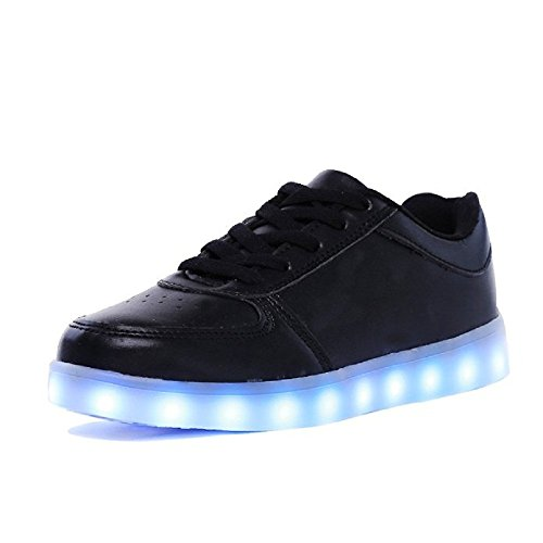 ZHIHONG Unisex 7 Colors LED Light Up Sport Shoes Flashing Sneakers (8.5US, Black)