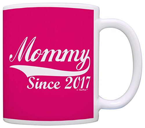 Mothers Day Gifts for Mommy Since 2017 New Mom Gift Coffee Mug Tea Cup Pink