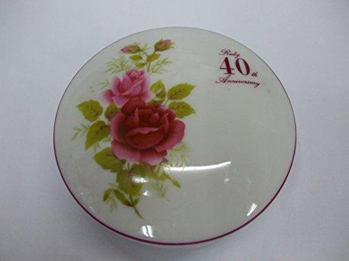 40th Ruby Anniversary English Flowers China Round Box 3.75