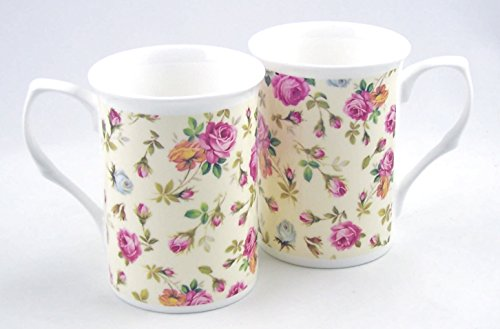 Pair Fine English Bone China Mugs - Rose Basket Cream (Antique English Bone China)