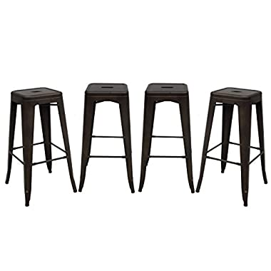 Purenity 30-Inch Metal Tolix Style Industrial Chic Chair Counter Stool, Patio Vintage Bar stool, Set of 4 (Matte Metal)