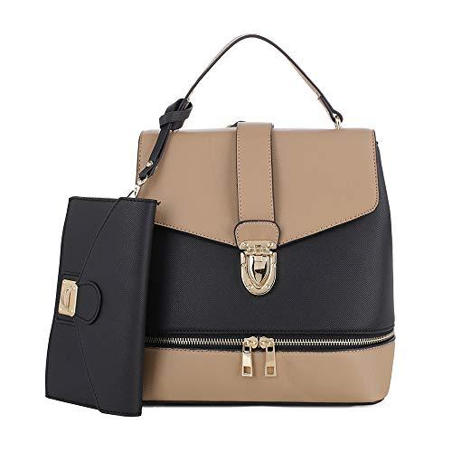 - Fashion Casual Faux Leather Shoulder Bag Mini Backpack School Bag for Women 2pc | Black/Beige