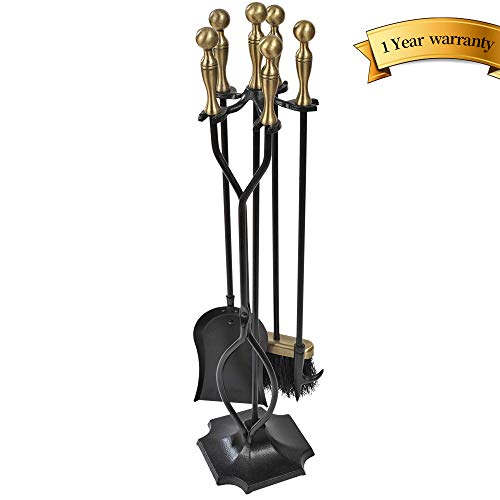 5 Pieces Fireplace Tools Sets Brass Handles Wrought Iron Fire Place Tool Set and Holder Outdoor Fireset Fire Pit Stand Rustic Tongs Shovel Antique Brush Chimney Poker Wood Stove Hearth Accessories Kit
