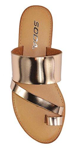 SODA Shoes Women Flip Flops Flat Summer Basic Sandals Thongs Toe Ring Joan Rose Gold 7.5