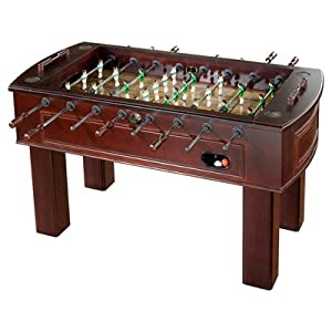 Football table game with wood exterior
