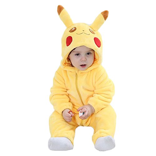 Toddler Baby Animal Onesie Cartoon Pikachu Costume Outfits Homewear Rompers for Baby Boys and Girls (Pikachu Halloween Costume Baby)