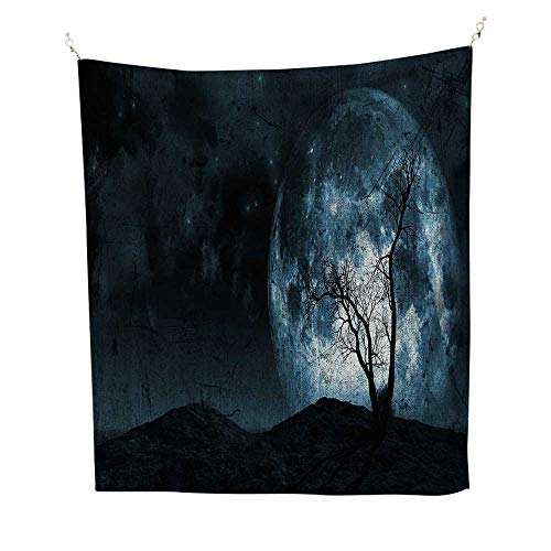 Fantasyfunny tapestryNight Moon Sky with Tree Silhouette Gothic Halloween Colors Scary Artsy Background 60W x 80L inch Quote tapestrySlate -