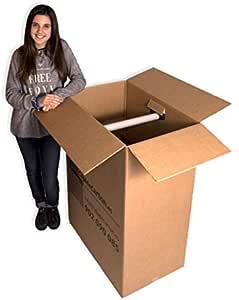 Pack 5 Cajas de Cartón (Caja Armario) 750x450x1000mm. Incluye soporte para perchas de plástico. Con impresión Cajadecarton.es: Amazon.es: Oficina y papelería
