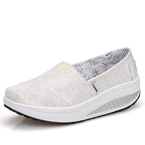 Qiusa Zapatillas de Deporte Rocker Sole Shoes Women Shake Platform (Color : Púrpura, tamaño : EU 37) Blanco