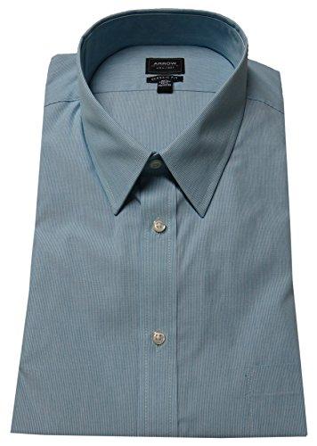 Arrow Men's Classic Fit Wrinkle Free Fineline Striped Dress Shirt (17-17.5 Neck 34/35 Sleeve, Pool)