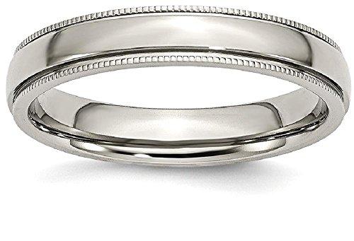 Beaded Edge Wedding Band Ring (ICE CARATS Titanium Grooved Beaded Edge 4mm Wedding Ring Band Size 6.00 Classic Milgrain)