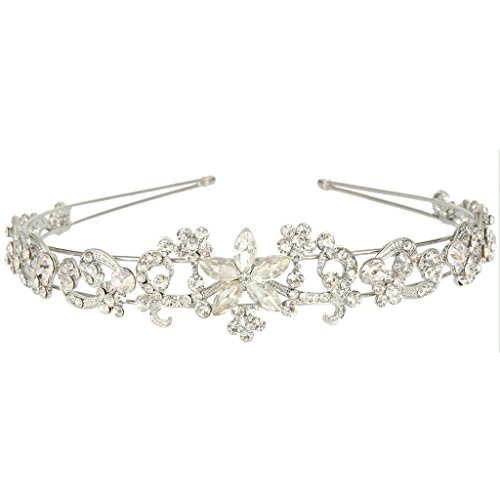 Tone Daisy Flower (EVER FAITH Wedding Silver-Tone Daisy Flower Teardrop Austrian Crystal Hair Headband)