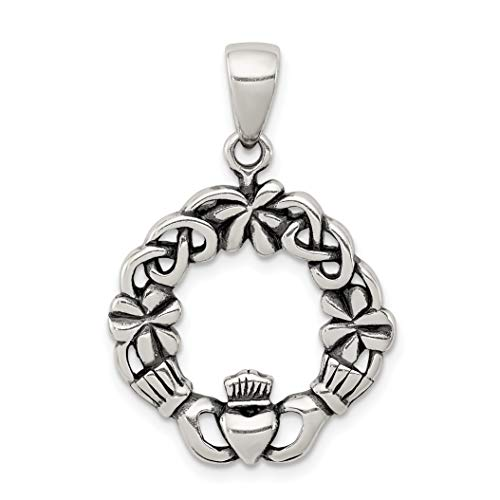 Antiqued Claddagh Symbol Pendant With Celtic Weave In 925 Sterling Silver 30x20mm