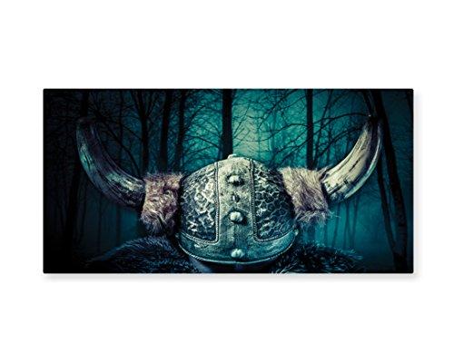 Lunarable Viking Wall Art, Barbarian Warrior Head with Horns in Mystical Scandinavian Forest, Gloss Aluminium Modern Metal Artwork for Wall Decor, 23.5 W X 11.6 L Inches, Petrol Blue Grey (Female Barbarian Costume Ideas)