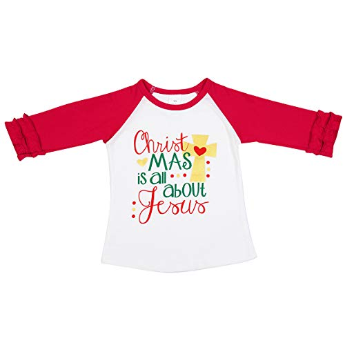 Infant Baby Jersey Contrast Raglan Long Sleeve for Kids Little Big Girls Cotton T-Shirts Casual Tees Christmas Costume Z Red 01 4-5 Years -
