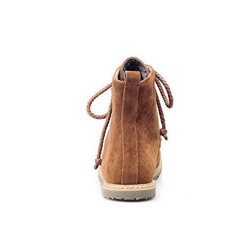 Wildleder Damen Allhqfashion runde imitiert Gelb Schnürschuh Low Closed Toe Stiefel Heels Solid tAtwdqF