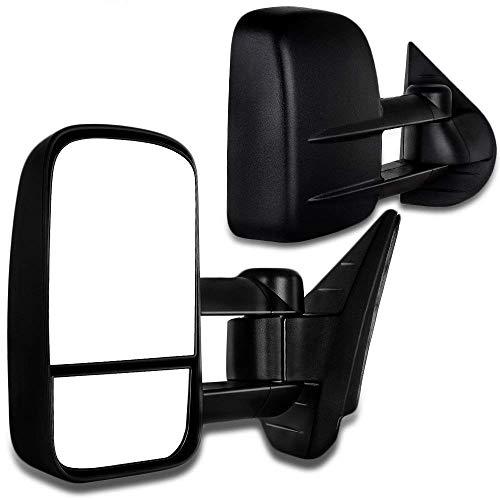 (SCITOO Towing Mirrors Chevy GMC Exterior Accessories Mirrors 2008-2013 Silverado Sierra 1500 2500HD 3500 (Fit 07 New Body Style) Convex Glass Manual Controlling Telescoping Folding)