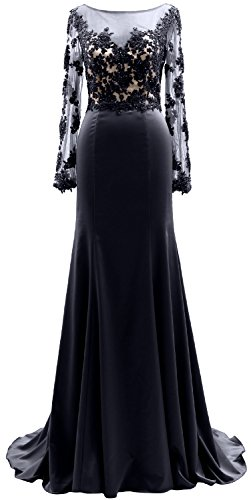 The Lace Gown Dress Long Dunkelmarine Macloth Women Evening Of Sleeves Illusion Mother Bride