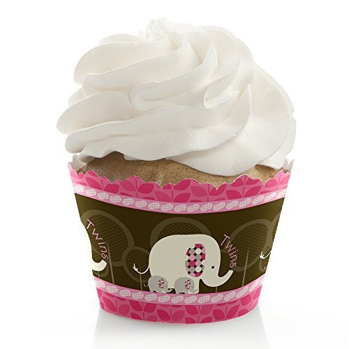 Pink And Brown Party Supplies (Twin Pink Baby Elephants - Baby Shower or Birthday Party Cupcake Wrappers - Set of 12)