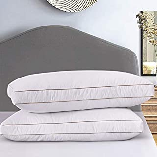 Ubauba Goose Down Feather Pillow Insert for Sleeping 2 Pack, 100% Cotton Down Pillows Hotel Collection Bedding Pillows for All Season Set of 2- Standard (20x26)