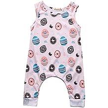 Daoroka Newborn Infant Baby Romper Boys Girls Easter Eggs Printed Unisex Cute Cartoon Sleeveless Fashion Jumpsuit Outfits (80/6M, White)