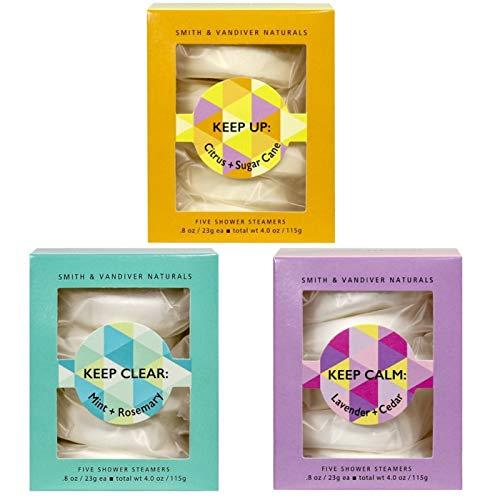 Smith & Vandiver Naturals   Shower Steamers Bundle   Mint + Rosemary, Lavender + Cedar, Citrus + Sugar Cane  5 Tablets of each   4 oz.