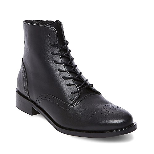 Steve Madden Women's Emelia Black Leather 470 10 (Steve Madden Flat Boots)