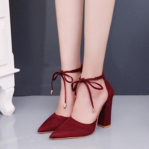 Hunpta Damen Sandalen Sommer Schuhe Damen Damen Pumps Sexy High-Heels Schuhe Wein