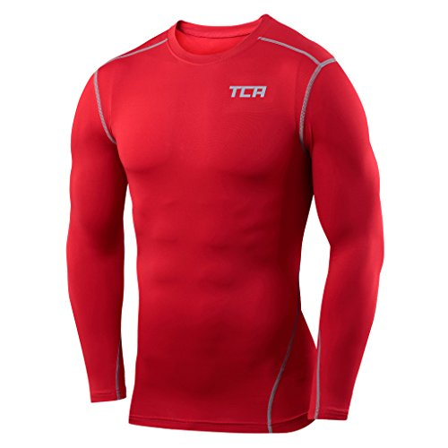 TCA Mens Pro Performance Compression Shirt Long Sleeve Base Layer Thermal Top - Red, L