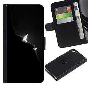 Billetera de Cuero Caso Titular de la tarjeta Carcasa Funda para Apple Iphone 5 / 5S / Devil Clouds Crescent Waning Night / STRONG