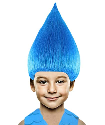 Halloween Party Online Colorful Troll Wig Collection (Kids, Blue) ()