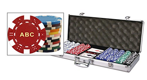 Custom Poker chip Set Monogrammed with your choice of 3 Initials Printed on the chips. Includes 500 11.5 gram chips, case & more. by Chip And Games