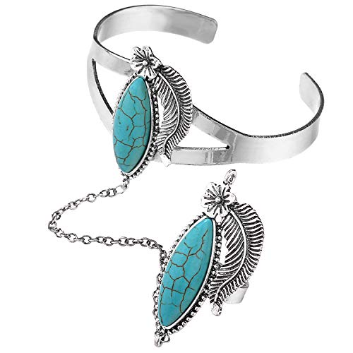 Lux Accessories Burnished Turquoise Stone Cuff Bracelet Slave Ring Metal Leaf Floral Flower