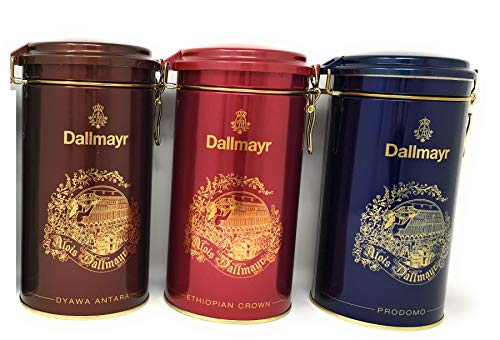 Highland Bronze Collectibles - Dallymayr Holiday Gift Coffee Bundle in Festive 17.6 Ounce Gift Tins: One Each of Blue Prodomo, Red Ethiopian Crown, and Bronze Dyawa Antara (THREE 17.6 Ounce Tins)