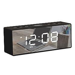 KinbomDigital Alarm Clock with FM Radio, Portable Mirror DualAlarm Clock Large LED Display with Time Date Temperature, 3 Levels Adjustable Brightness Displays for Bedroom Bedside Kids,Heavy Sleeper