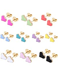 10Pairs/8Pairs 18K Gold Plated Small Cute Simple Post Stud Earrings Set for Girls Kids Gold Tone Mix and Match